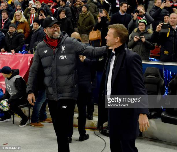 Jurgen Klopp Manager of Liverpool with Jesse Marsch Manager of RB Salzburg during the UEFA Champions Le ague group E match between RB Salzburg and...