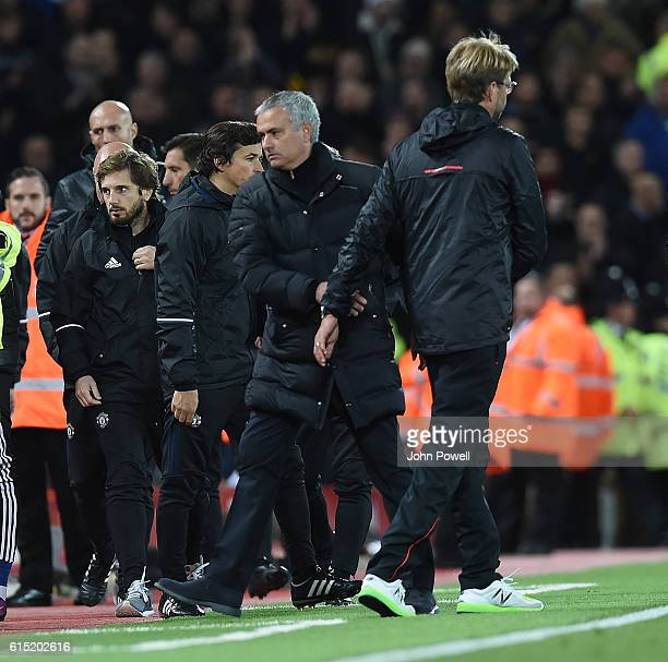 Jurgen Klopp Manager of Liverpool with Jose Mourinhio at the end of the Premier League match between Liverpool and Manchester United at Anfield on...