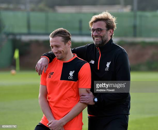 Jurgen Klopp manager of Liverpool with Lucas Leiva during a training session at La Manga on February 16 2017 in La Manga Spain