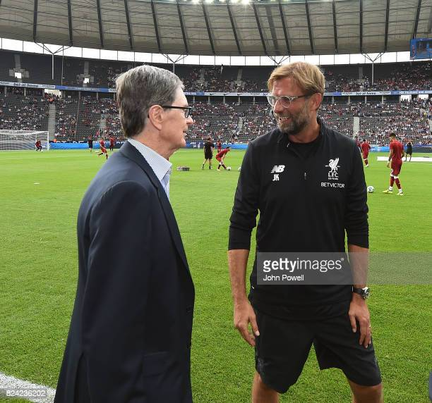 Jurgen Klopp manager of Liverpool with owner John W Henry before the preseason friendly match between Hertha BSC and FC Liverpool at Olympiastadion...
