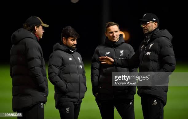 Jurgen Klopp manager of Liverpool with Peter Krawietz and Pepijn Lijnders assistant managers and Vitor Matos elite development coach of Liverpool...