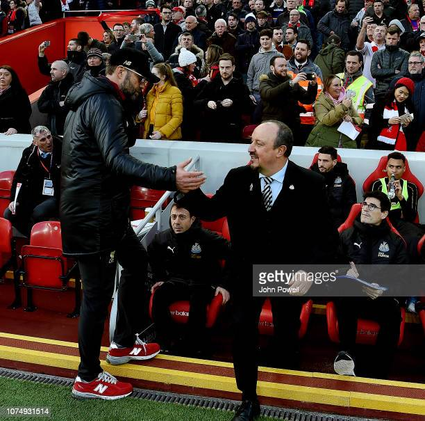 Jurgen Klopp Manager of Liverpool with Rafa Benitez of Newcastle During the Premier League match between Liverpool FC and Newcastle United at Anfield...