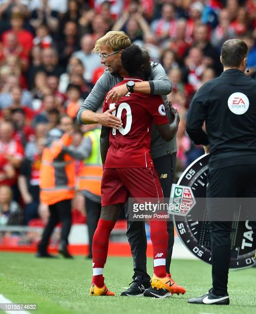 Jurgen Klopp manager of Liverpool with Sadio Mane during the Premier League match between Liverpool FC and West Ham United at Anfield on August 12...