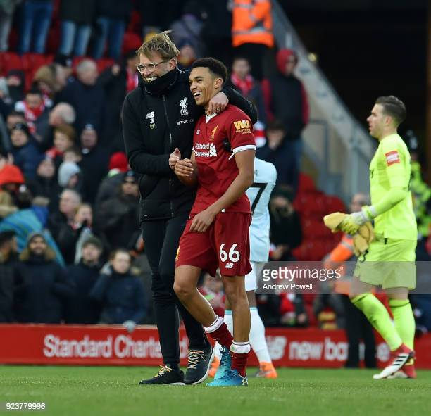 Jurgen Klopp Manager of Liverpool with Trent AlexanderArnold at the end of the Premier League match between Liverpool and West Ham United at Anfield...