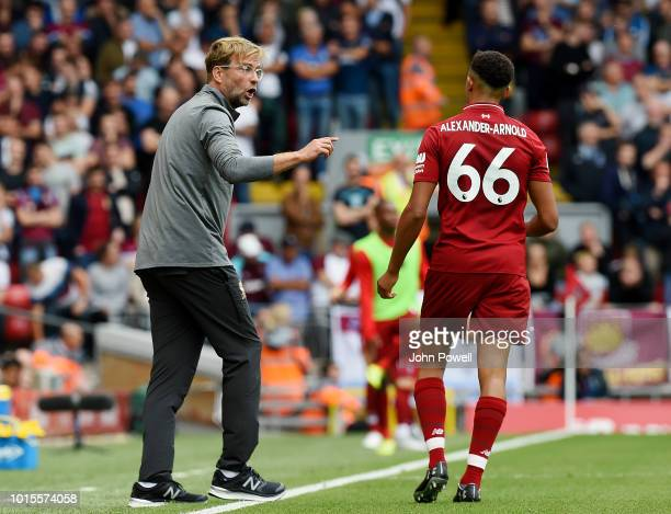 Jurgen Klopp manager of Liverpool with Trent AlexanderArnold during the Premier League match between Liverpool FC and West Ham United at Anfield on...