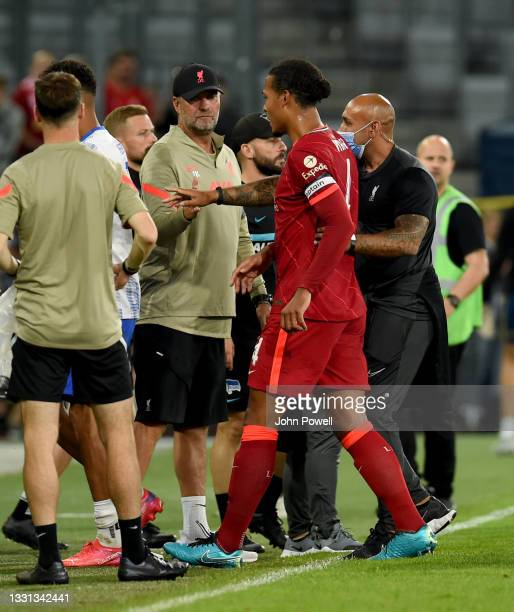 Jurgen Klopp manager of Liverpool with Virgil van Dijk of Liverpool at the end of the Pre Season match between Hertha BSC and Liverpool at Tivoli...