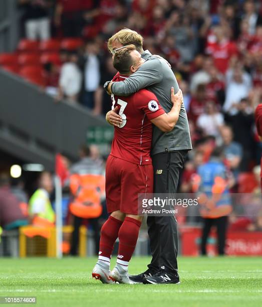 Jurgen Klopp manager of Liverpool with Xherdan Shaqiri at the end of the Premier League match between Liverpool FC and West Ham United at Anfield on...