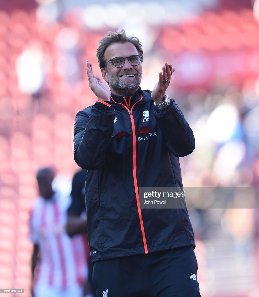 Jurgen Klopp Manager of Liverpoolat the end of the Premier League match between Stoke City and Liverpool at Bet365 Stadium on April 8, 2017 in Stoke on Trent, England.