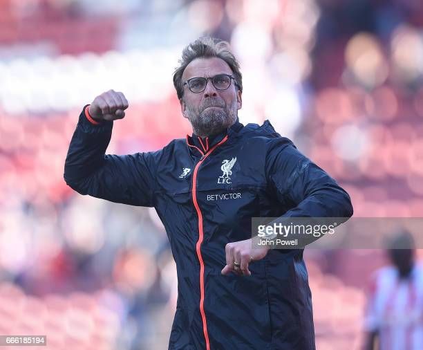 Jurgen Klopp Manager of Liverpoolat the end of the Premier League match between Stoke City and Liverpool at Bet365 Stadium on April 8 2017 in Stoke...