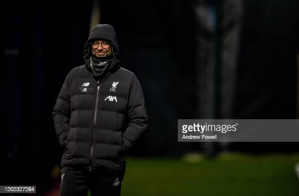 Jurgen Klopp manager of Liverpoolduring a training session at Melwood Training Ground on January 27 2020 in Liverpool England