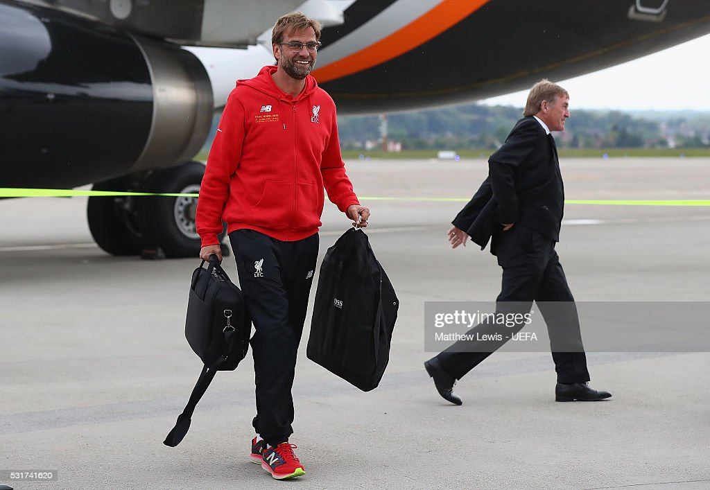 Jurgen Klopp, managerof Liverpool FC arrives at Basel airport ahead of the UEFA Europa League Final on May 16, 2016 in Basel, Basel-Stadt.
