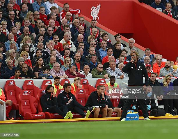 Jurgen Klopp manger of Liverpool during the Premier League match between Liverpool and Leicester City at Anfield on September 10 2016 in Liverpool...