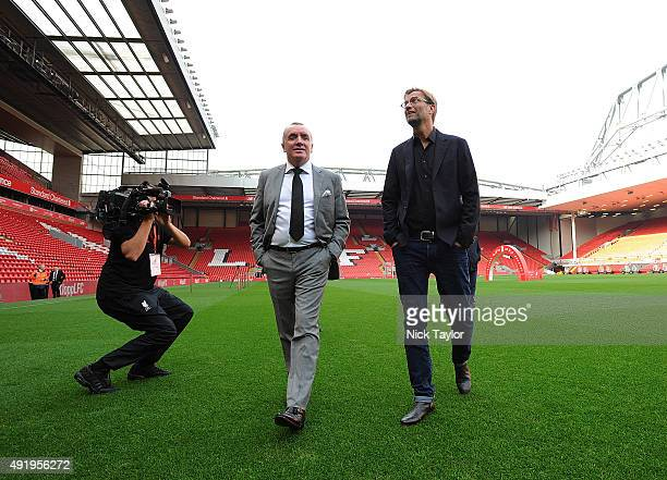 Jurgen Klopp new manager of Liverpool with Ian Ayre chief executive officer of Liverpool football at Anfield on October 9, 2015 in Liverpool, England.