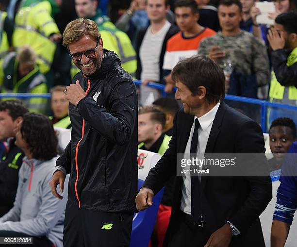 Jurgen Klopp of Liverpool and Antonio Conte of Chelsea during the Premier League match between Chelsea and Liverpool at Stamford Bridge on September...