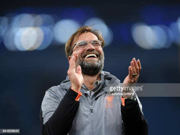 Jurgen Klopp of Liverpool applauds the fans after victory in the Quarter Final Second Leg match between Manchester City and Liverpool at Etihad...