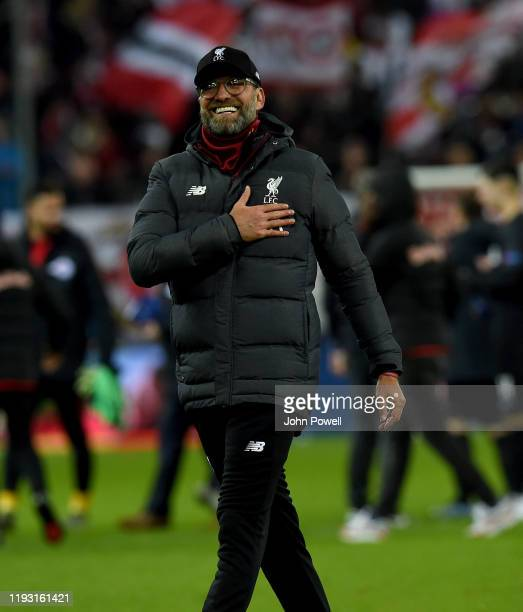 Jurgen KLopp of Liverpool at the end of the UEFA Champions League group E match between RB Salzburg and Liverpool FC at Red Bull Arena on December 10...