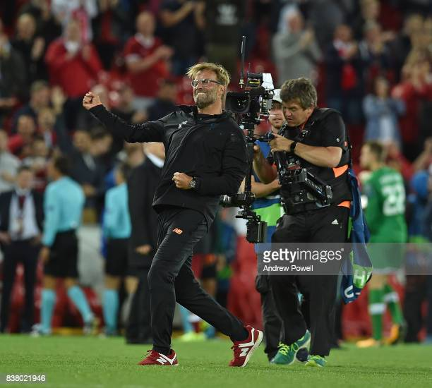 jurgen Klopp of Liverpool at the end of the UEFA Champions League Qualifying PlayOffs round second leg match between Liverpool FC and 1899 Hoffenheim...