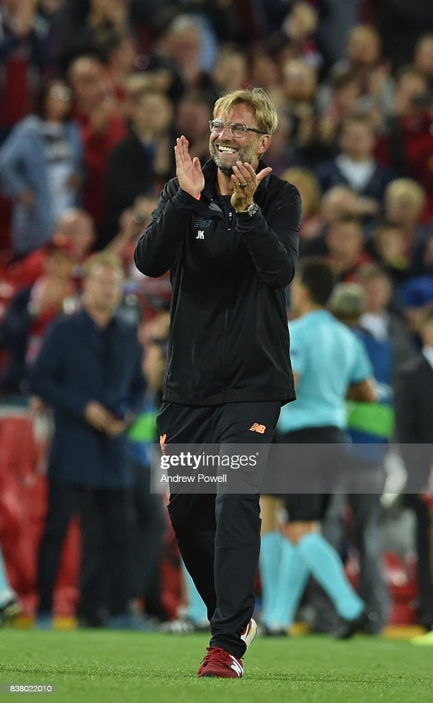 jurgen Klopp of Liverpool at the end of the UEFA Champions League Qualifying Play-Offs round second leg match between Liverpool FC and 1899 Hoffenheim at Anfield on August 23, 2017 in Liverpool, United Kingdom.