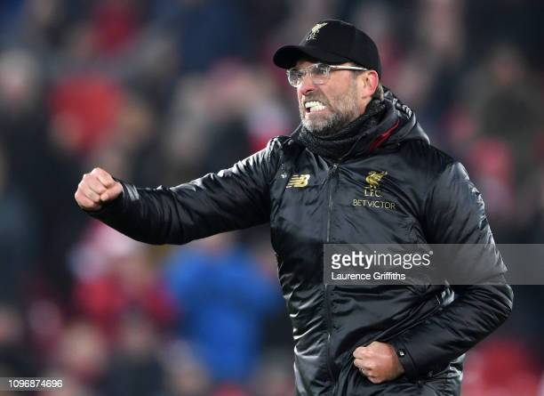 Jurgen Klopp of Liverpool celebrates victory during the Premier League match between Liverpool FC and Crystal Palace at Anfield on January 19, 2019...