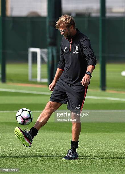 Jurgen Klopp of Liverpool during a training session at Melwood Training Ground on August 16 2016 in Liverpool England