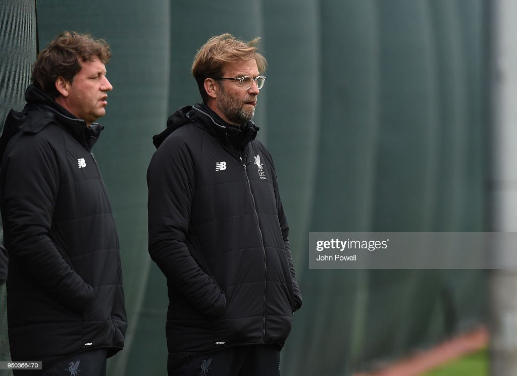 Jurgen Klopp of Liverpool during a training session at Melwood Training Ground on April 23, 2018 in Liverpool, England.