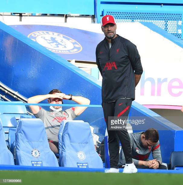 Jurgen Klopp of Liverpool during the Premier League match between Chelsea and Liverpool at Stamford Bridge on September 20 2020 in London England