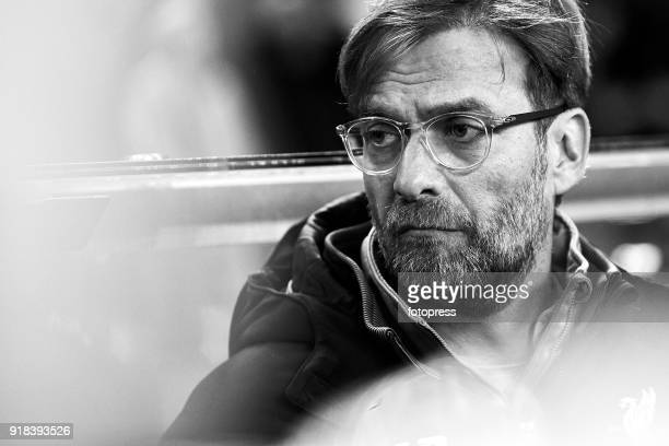 Jurgen Klopp of Liverpool FC looks on prior to the UEFA Champions League Round of 16 First Leg match between FC Porto and Liverpool FC at Estadio do...