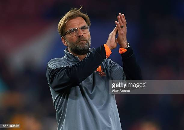 Jurgen Klopp of Liverpool FC waves to the fans after the end of the UEFA Champions League group E match between Sevilla FC and Liverpool FC at...