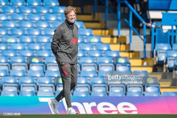 Jurgen Klopp of Liverpool walks on pitch before the Premier League match between Chelsea and Liverpool at Stamford Bridge on September 20 2020 in...