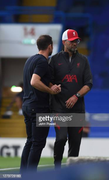 Jurgen Klopp of Liverpool with Frank Lampard at the end of the Premier League match between Chelsea and Liverpool at Stamford Bridge on September 20...