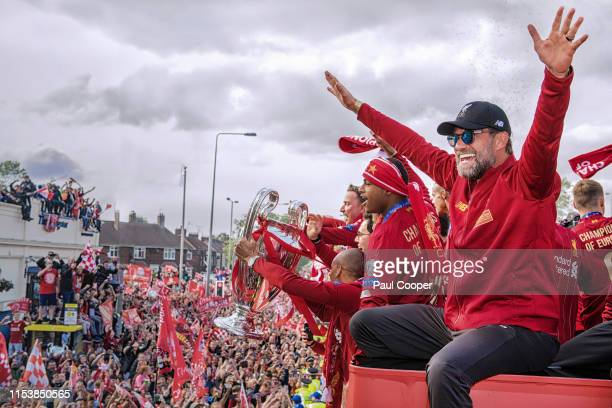 Jurgen Klopp on the Liverpool parade bus after winning the UEFA Champions League final against Tottenham Hotspur in Madrid on June 2, 2019 in...