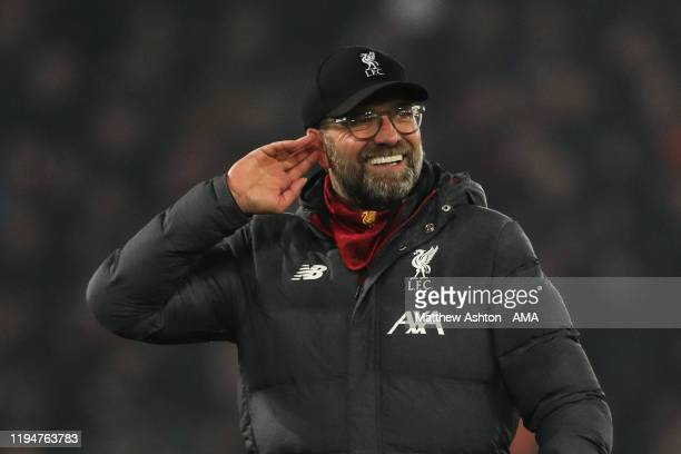 Jurgen Klopp the head coach / manager of Liverpool celebrates at full time during the Premier League match between Liverpool FC and Manchester United...