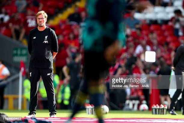 Jurgen Klopp the head coach / manager of Liverpool during the Premier League match between Liverpool FC and Arsenal FC at Anfield on August 24 2019...