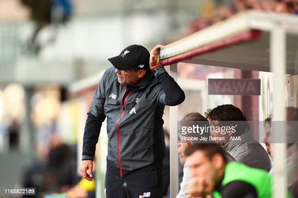 Jurgen Klopp the head coach / manager of Liverpool during the Premier League match between Burnley FC and Liverpool FC at Turf Moor on August 31 2019...