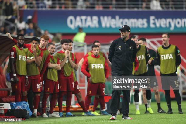Jurgen Klopp the head coach / manager of Liverpool looks on as a VAR check is made during the FIFA Club World Cup Qatar 2019 Final match between...