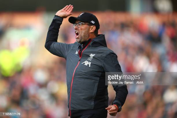 Jurgen Klopp the head coach / manager of Liverpool reacts during the Premier League match between Burnley FC and Liverpool FC at Turf Moor on August...