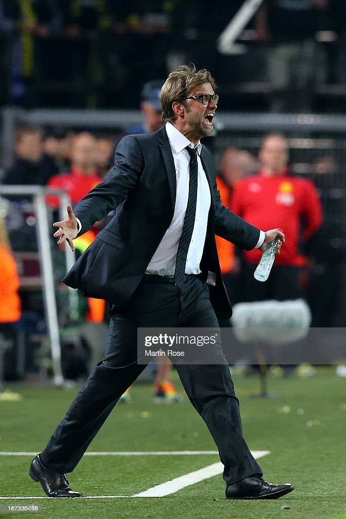 Jurgen Klopp the head coach of Borussia Dortmund reacts during the UEFA Champions League semi final first leg match between Borussia Dortmund and Real Madrid at Signal Iduna Park on April 24, 2013 in Dortmund, Germany.