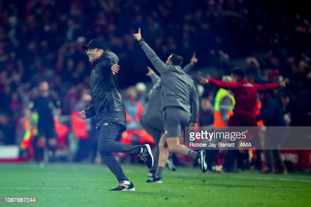 Jurgen Klopp the manager / head coach of Liverpool celebrates as Divock Origi of Liverpool scores a goal to make it 10 during the Premier League...
