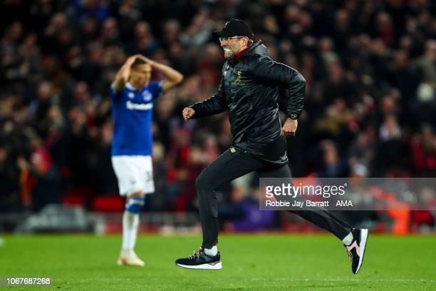 Jurgen Klopp the manager / head coach of Liverpool celebrates as Divock Origi of Liverpool scores a goal to make it 10 during the Premier League...