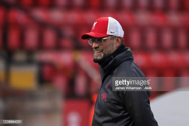 Jurgen Klopp the manager / head coach of Liverpool during the Carabao Cup Third Round match between Lincoln City and Liverpool at Sincil Bank Stadium...