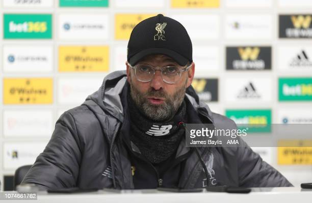 Jurgen Klopp the manager / head coach of Liverpool during the post match press conference after the Premier League match between Wolverhampton...