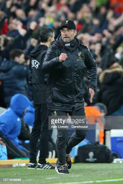 Jurgen Klopp the manager of Liverpool celebrates after his team score the opening goal during the UEFA Champions League Group C match between...