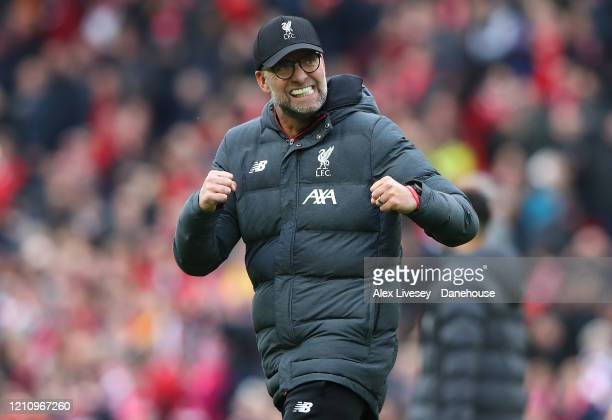 Jurgen Klopp the manager of Liverpool celebrates after the Premier League match between Liverpool FC and AFC Bournemouth at Anfield on March 07 2020...