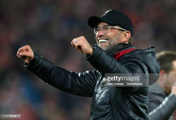 Jurgen Klopp the manager of Liverpool celebrates after the UEFA Champions League Semi Final second leg match between Liverpool and Barcelona at...