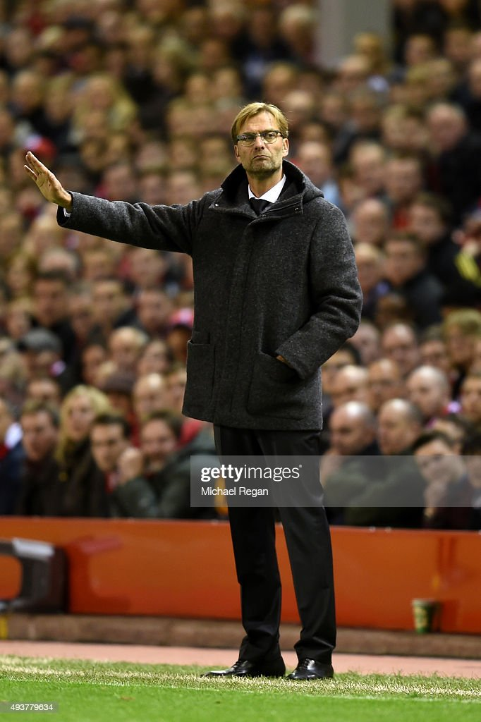 Jurgen Klopp the manager of Liverpool directs his players during the UEFA Europa League Group B match between Liverpool FC and Rubin Kazan at Anfield on October 22, 2015 in Liverpool, United Kingdom.