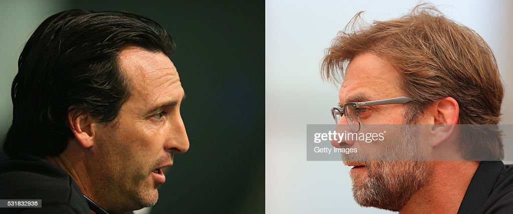 PHOTO - Image Numbers 493429690 (L) and 531205008) In this composite image a comparison has been made between Head coach Unay Emeri of Sevilla FC (L) and Liverpool manager Jurgen Klopp. Liverpool FC and Sevilla FC meet in the 2016 Europa League Cup Final at the St Jakob Park Stadium on May 18, 2016 in Basel,Switzerland. LIVERPOOL, ENGLAND - MAY 13: Jurgen Klopp the manager of Liverpool faces the media during the Liverpool UEFA Europa League Cup Final Media Day at Melwood Training Ground on May 13, 2016 in Liverpool, England.