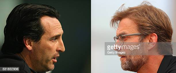 PHOTO Image Numbers 493429690 and 531205008 In this composite image a comparison has been made between Head coach Unay Emeri of Sevilla FC and...