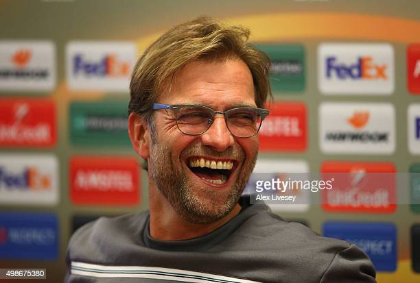 Jurgen Klopp the manager of Liverpool FC faces the media during a press conference at Melwood Training Complex on November 25 2015 in Liverpool...