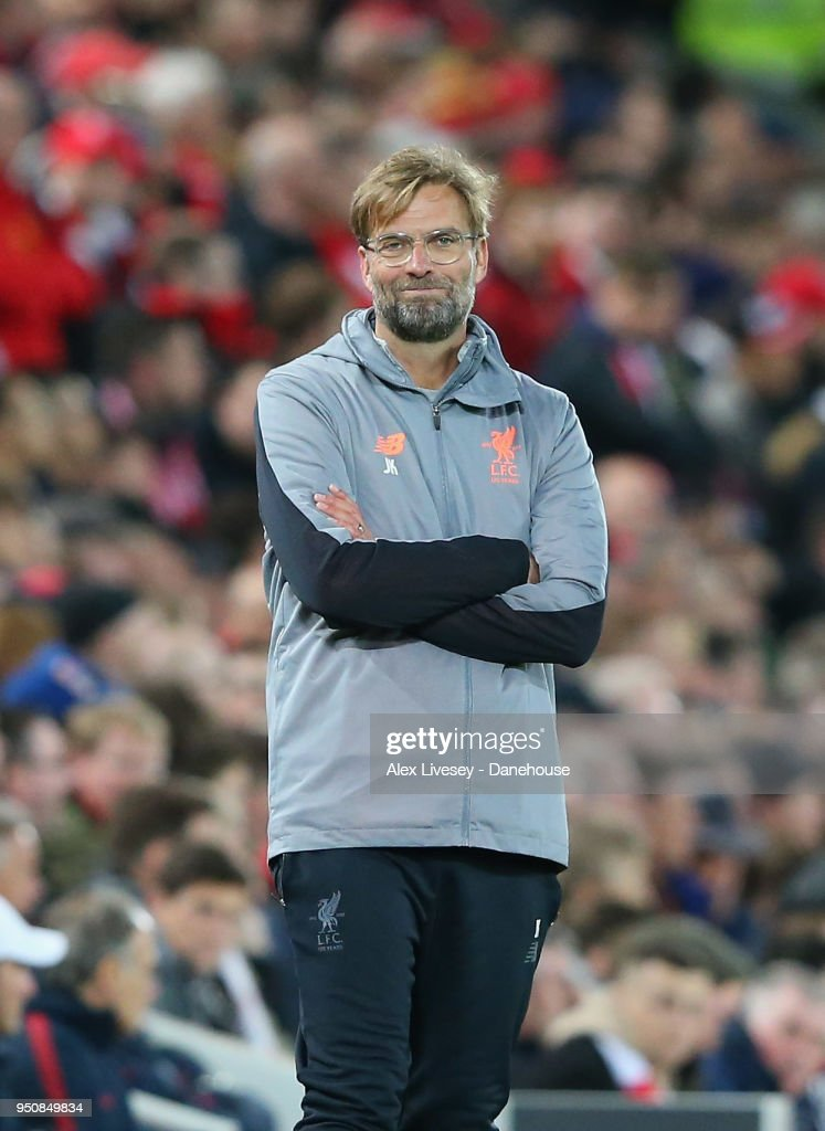 Jurgen Klopp the manager of Liverpool looks on during the UEFA Champions League Semi Final First Leg match between Liverpool and A.S. Roma at Anfield on April 24, 2018 in Liverpool, United Kingdom.