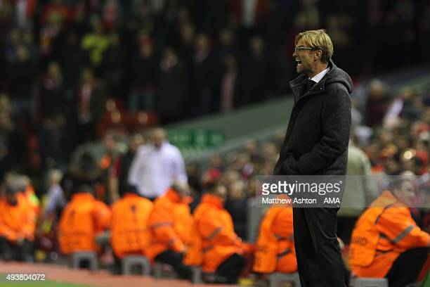 Jurgen Klopp the manager of Liverpool on the sidelines during the UEFA Europa League match between Liverpool and Rubin Kazan at Anfield on October 22...